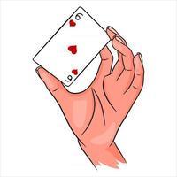 jogatina. baralho na mão. cassino, sorte, fortuna. seis de vermes. vetor