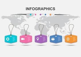 modelo de design de infográfico com 5 etiquetas de preço penduradas vetor