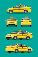ilustração em vetor táxi carro amarelo serviço transporte