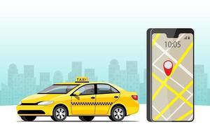 conjunto de ilustração vetorial de transporte de serviço de táxi colorido vetor