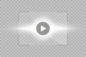 player de vídeo para web e aplicativos móveis estilo simples e efeito de luz de brilho do sol. ilustração vetorial. vetor