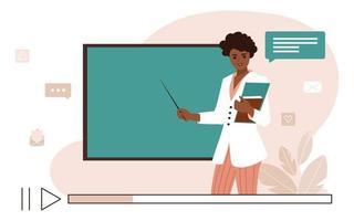 conceito de aprendizagem online. vídeo aula com a professora afro-americana e o quadro-negro da escola. ilustração vetorial plana vetor