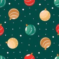sem costura padrão bolas de Natal em um fundo verde e neve. ilustração vetorial plana para papel de embrulho ou cartão de felicitações para o ano novo vetor