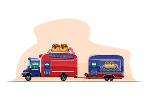 trailer food truck desenho design estilo plana vetor