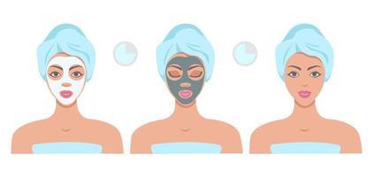 mulher bonita com máscaras faciais isoladas no fundo branco. procedimento de aplicação de máscara facial, tratamento de beleza, máscara de limpeza facial. conceito de cuidado de pele de rosto. ilustração em vetor plana.