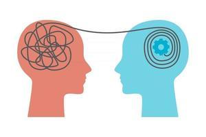 saúde mental. conceito de sessão de psicoterapia. dois humanos cabeça silhueta terapeuta e paciente. ilustração em vetor plana para blog de psicólogo, postagem em mídia social, clínica, gabinete