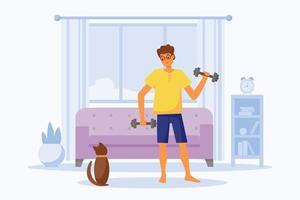 cara faz treino em casa com halteres. homem e gato fofo marrom treinando na sala moderna. ilustração em vetor personagens planas. exercícios de treinamento físico, estilo de vida saudável, momentos de relaxamento em casa