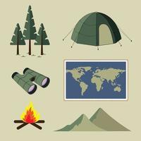 cena de viagem com acampamento na floresta natural em vetor de verão
