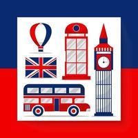 desenho de símbolo e ícones viajam na Inglaterra em vetor de desenho animado
