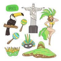 Ícones da cultura e da natureza brasileira desenhando o vetor pintura dos desenhos animados
