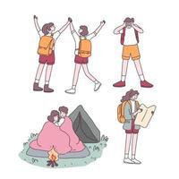 mochila adolescente casal viajante personagem de desenho animado vetor