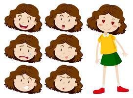 Menina com muitas expressões faciais vetor