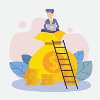 empresários com vetor de sucesso de finanças rico em moeda