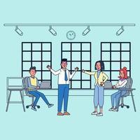 equipe de negócios conversando e trabalhando nos computadores da sala de reuniões. vetor