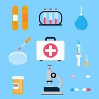 kit de primeiros socorros de medicina de hospital e equipamento de laboratório para análise, vacinas e cura pessoas ciência coisas estilo simples design ilustração vetorial isolada no fundo. vetor