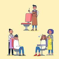 estilo de desenho animado. conjunto de barbearia, barbeiro isolado está estilizando o cabelo dos clientes na barbearia. vetor