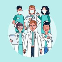 o cenário hospitalar apresenta uma equipe de médicos especialistas em tratamento. vetor