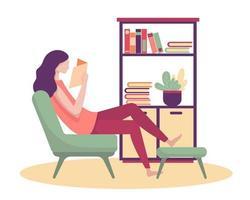 uma jovem refrescou a manhã com um novo livro em sua sala. vetor