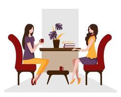 a jovem e sua melhor amiga estavam sentadas em uma cadeira conversando sobre o livro acabado. vetor