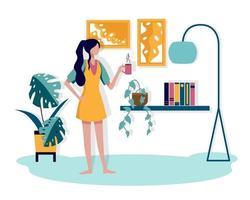 uma jovem refrescou a manhã com uma xícara de café favorita em sua sala. vetor