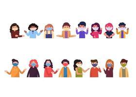18 poses de pacotes de personagens. pessoas usando máscaras para evitar poeira e germes. vetor