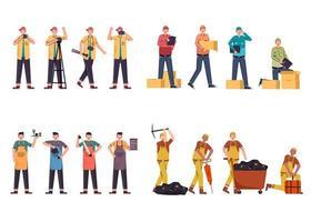 conjunto de 2 conjuntos de caracteres de carreira, 12 poses de várias profissões, estilos de vida, vetor