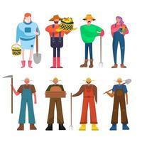 pacote de 8 famílias de fazendeiros, 8 poses com ferramentas de jardinagem palha, garfo, pás, foice, caixa, cesta vetor