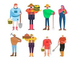 conjunto de 2 conjuntos de caracteres de carreira, 8 poses de várias profissões, estilos de vida, vetor