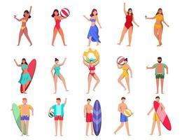 pacote de personagem feminina 3 conjuntos, 15 poses de mulher em traje de banho com equipamento vetor