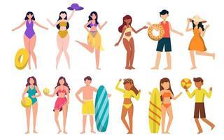 pacote de personagem feminina 4 conjuntos, 12 poses de mulher em traje de banho com equipamento vetor