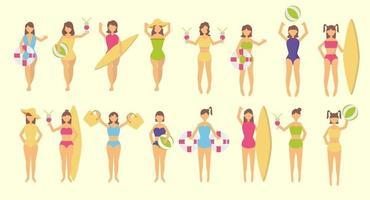 pacote de personagens femininos 4 conjuntos, 16 poses femininas em traje de banho com equipamento vetor
