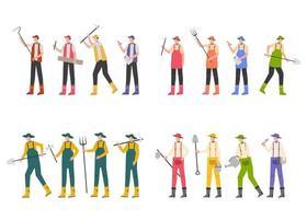 pacote de muitos personagens de carreira 4 conjuntos, 16 poses de agricultores vetor