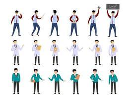 pacote de muitos personagens de carreira 3 conjuntos, 18 poses de várias profissões, estilos de vida, vetor