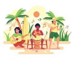banda de praia para recreação dos funcionários da empresa. a banda é formada por bateria, guitarras, zacs. vetor