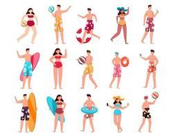 pacote de personagem de homem e mulher 3 conjuntos, 15 poses de mulher em traje de banho com equipamento vetor