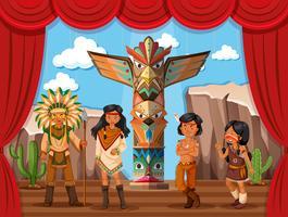 Tribo nativa americana no palco vetor