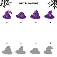 jogos de halloween. combinar sombras. vetor