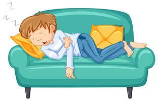 Homem, levando, cochilo, em, grande, sofá vetor