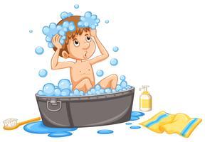Menino tomando banho de espuma na banheira vetor