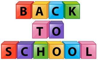 De volta à escola em caixas quadradas vetor