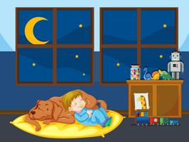 Menina, e, cachorro pet, dormir vetor