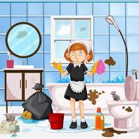 Um, preocupado, empregada, limpeza, banheiro vetor