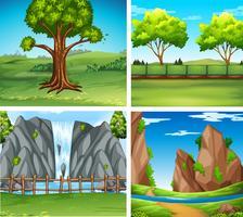 Quatro cenas de fundo com árvores e cascata vetor