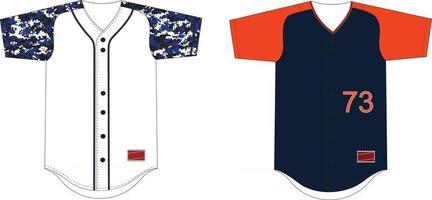 camisas de baseball com mangas raglan de botão completo vetor