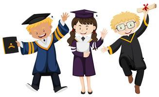 Três pessoas, em, vestido graduação vetor
