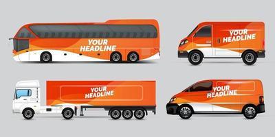 design de anúncio de transporte, conceito de design gráfico de carro. designs gráficos de listras abstratas para envolver veículos, vans de carga, caminhonetes e uniformes de corrida. vetor