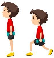 Menino, fazendo, lungeing, exercício vetor