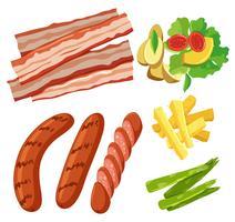 Um conjunto de fundo branco de comida saudável vetor