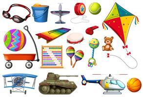 Conjunto de brinquedos e transportes vetor