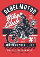 emblema vintage do rebel motor club, design retro do emblema vetor